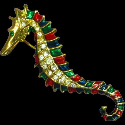 Rhinestones Enamel Gold tone Seahorse Pin Brooch