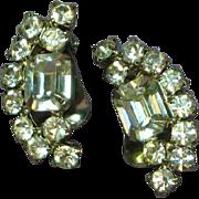 La Rel Sparkling Clear Rhinestone Rhodium Plate Clip Earrings