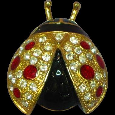 Roman Signed Large Glittering Rhinestones Enamel Lady Bug Pin Brooch