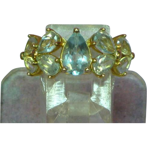 Blue Topaz Ice Nine Stone Sterling Vermeil Ring