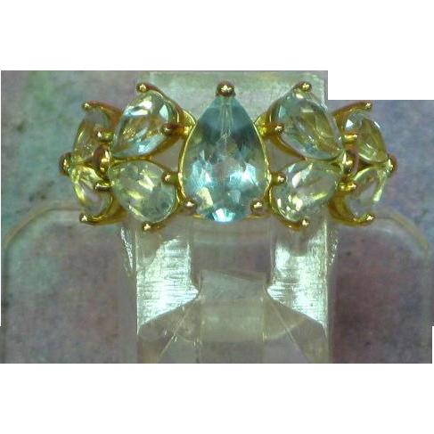 Blue Topaz Ice Nine Stone Sterling Vermeil Ring