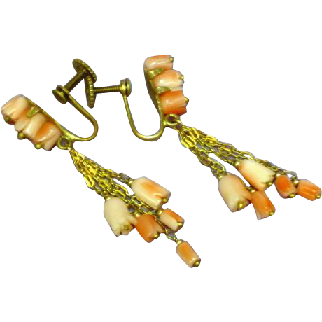 Coral Angel Skin Carved Rose Buds West Germany Gold Filled Earrings
