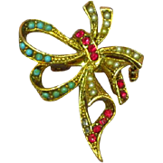 Beautiful Turquoise Simulated Seed Pearl Rhinestone Ribbon Bow Brooch Pin