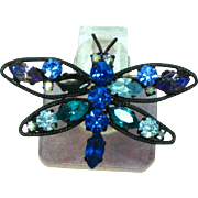 Austria Signed Butterfly Multi Blues  Rhinestones Japanned Pin Brooch