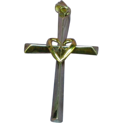 10K Gold Sterling Silver Bolivia Love Earth ® Cross Heart Necklace Pendant