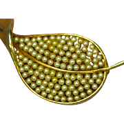 Vintage Marvella Signed Tiny Seed Pearl Leaf Pin Brooch