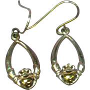 14K Yellow Gold and Sterling Silver Claddaugh Motif Drop Pierced Earrings