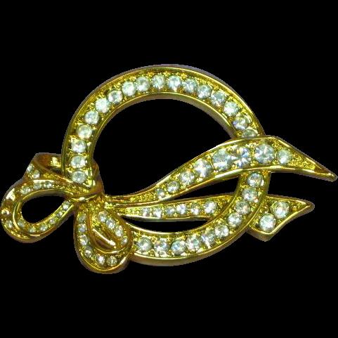 Nolan Miller Dimensional Rhinestones Goldtone Pin Brooch