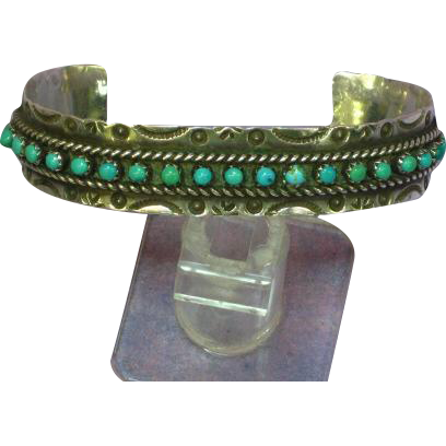 Native American Indian  Zuni Jason & Pearl Ukestine Sterling Silver And Snake Eye Turquoise Cuff Bracelet