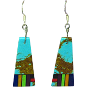 Native American Zuni Dangling  Multi Stone Inlay Pierced Earrings