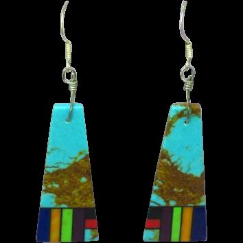 Native American Zuni Dangling  Multi Stone Inlay Pierced Earrings
