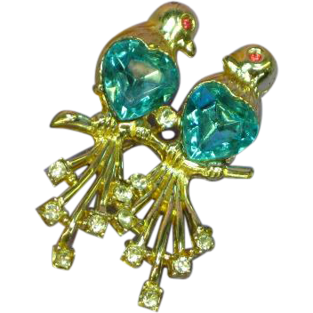 Coro Unsigned Adolph Katz Lovebirds Pin Brooch