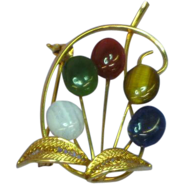 Gemstone Cabochons Gold Filled Brooch Pin