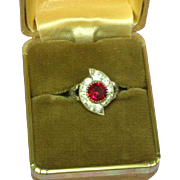 Sterling CZ and Deep Red Ruby Rhinestone Deco Style Ring