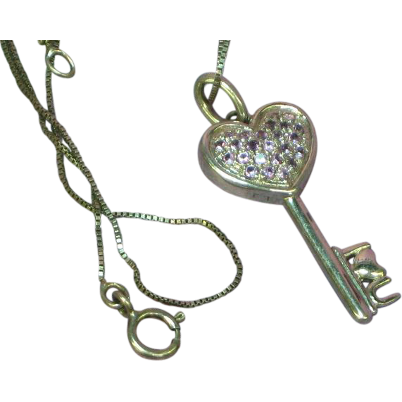 Sterling Silver Marked SAI Tanzanite I Love You Heart Key Pendant Necklace