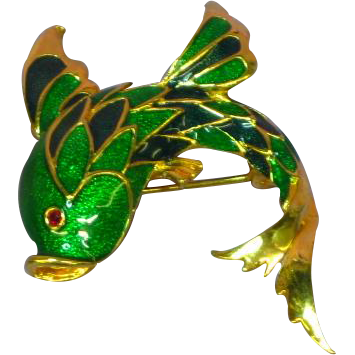 Enamel Signed AFJ Blue Green Fancy Fish Pin Brooch