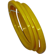 Three Butterscotch Vintage Bakelite Spacer Trio Bangle Bracelets