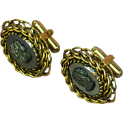 Cufflinks Cameo Hematite Black Gold Filigree Cuff Links