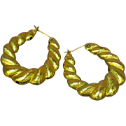 Monet Marked Sophisticated Large Shrimp Hoop Pierced Earrings