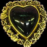 Art Glass Black Glass Heart on Hearts Goldtone Pin Brooch