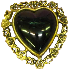 Art Glass Black Glass Heart on Hearts Goldtone Pin Brooch