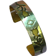 Native American Indian Signed Sterling Silver Copper Layered Cuff Bracelet