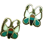 Native American Zuni Signed Inlay Coral Turquoise MOP Onyx Sterling Silver Pierced Butterfly Earrings