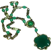 Czech Sterling Silver Chrysophase and Marcasite Green Ornate Necklace