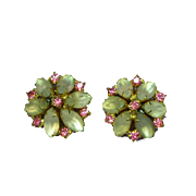 Juliana D&E Frosted White Rhinestones with Pink Gold Plate Clip Earrings