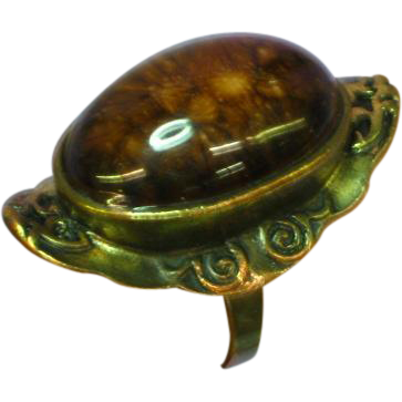 Art Glass Cabochon LARGE Brass Adjustable Ring