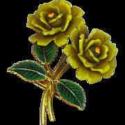 Celluloid Rhinestones Early Century Enamel Flower Pin Brooch