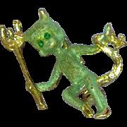 Rare Gold-Tone Green Enamel Female Figural Devil Pin Brooch