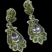 Gemstones Vintage Sterling Silver Amethyst and Marcasite Dangle Pierced Earrings