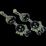 Gemstones Sterling Silver Onyx & Marcasite Long High Visual Impact Dangle Pierced Earrings