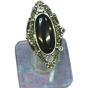 Spectacular Large Art Deco Style Sterling Silver Onyx Marcasite Ring