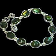 Stunning Sterling Silver Labradorite Cabochon Bracelet