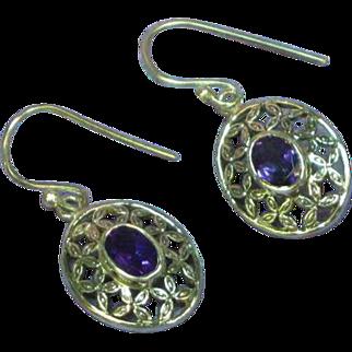 Gemstones Vintage Sterling Silver Amethyst Floral Dangle Pierced Earrings