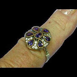 Stunning Sterling Silver Vermeil, Amethyst Gemstone  Princess Ring