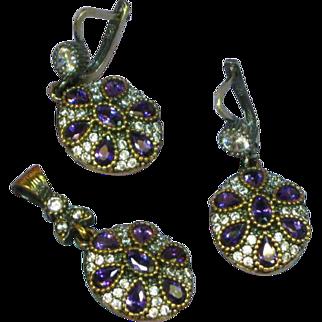 Stunning Sterling Silver Vermeil, Amethyst Gemstone  Princess Pendant and Pierced Earrings Set