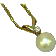 14k Yellow Gold Cultured Pearl Pendant w Diamond Necklace