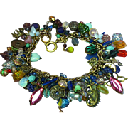 Mixed Metal Multi-Colored Mini Charms LOADED Bracelet