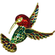 Enamel Colorful Sphinx Inspired Hummingbird Figural Pin Brooch