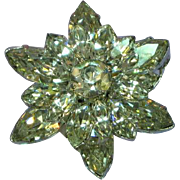 Austria Marked Brilliant Flash Rhinestones Snowflake 3 Layer Pin Brooch