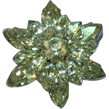 Austria Marked Brilliant Flash Rhinestones Snowflake 3 Layer Pin Brooch