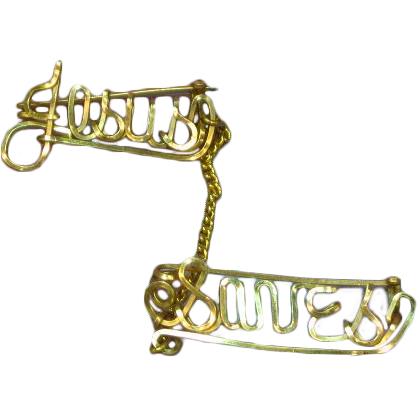 Yellow Gold Filled Wire Name Jesus Saves Pin Brooch