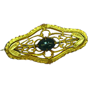 Victorian Gold Filled Jade Cabochon Bar Pin Brooch