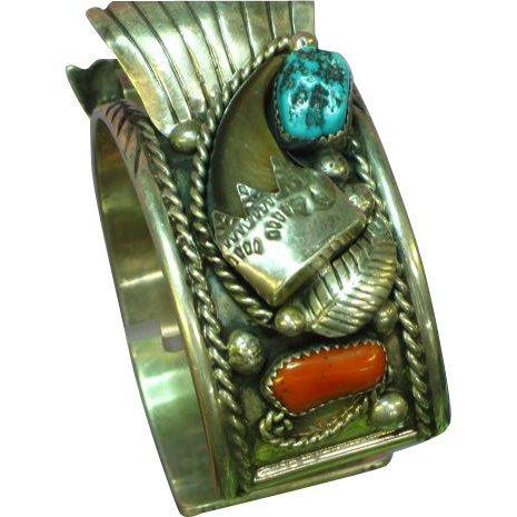 Native American Indian Navajo Signed Old Pawn Feather Sterling Turquoise Coral Bear Claw Cuff Watch Band Cuff Bracelet