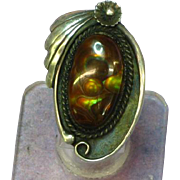 Native American Indian Fabulous FIRE AGATE & Sterling Silver Ring