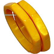 Bakelite Bracelets Pair (2) 8 Sided Carved Light Marbleized Butterscotch