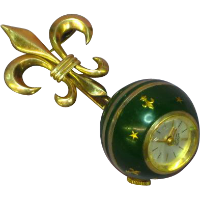 Enamel Ball Watch On Gold Filled Fleur-de-Lis Pin Stars Fleur-de-Lis Green Swiss Made Vintage